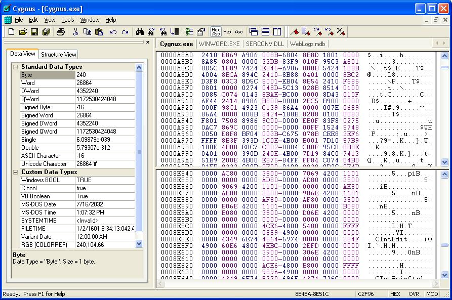 The fastest and easiest hex editor available. Many powerful features.
