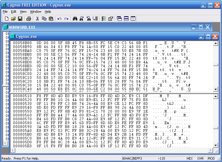 Click to view Cygnus Hex Editor FREE EDITION 1.00 screenshot